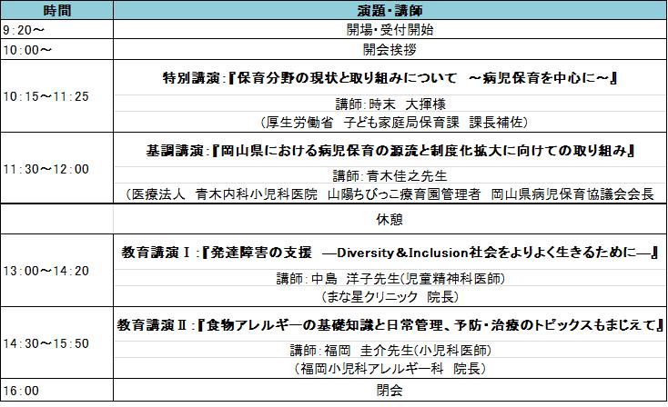 第14回岡山県病児保育協議会拡大研修会のご案内